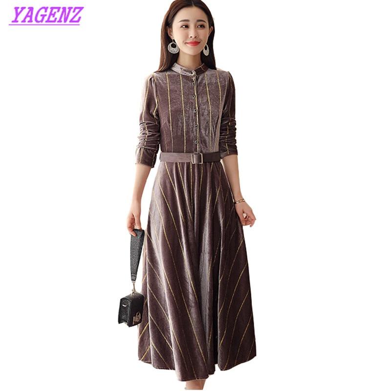 Gold velvet Dress Spring Autumn Plus size Women Thin knee Long Dress Young Ladies Stripe Stand