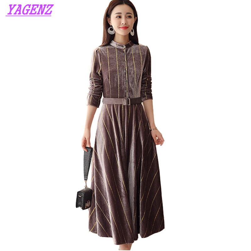 Or velours robe printemps automne grande taille femmes mince genou longue robe jeunes dames rayure col montant sauvage fond robe 4XL B632