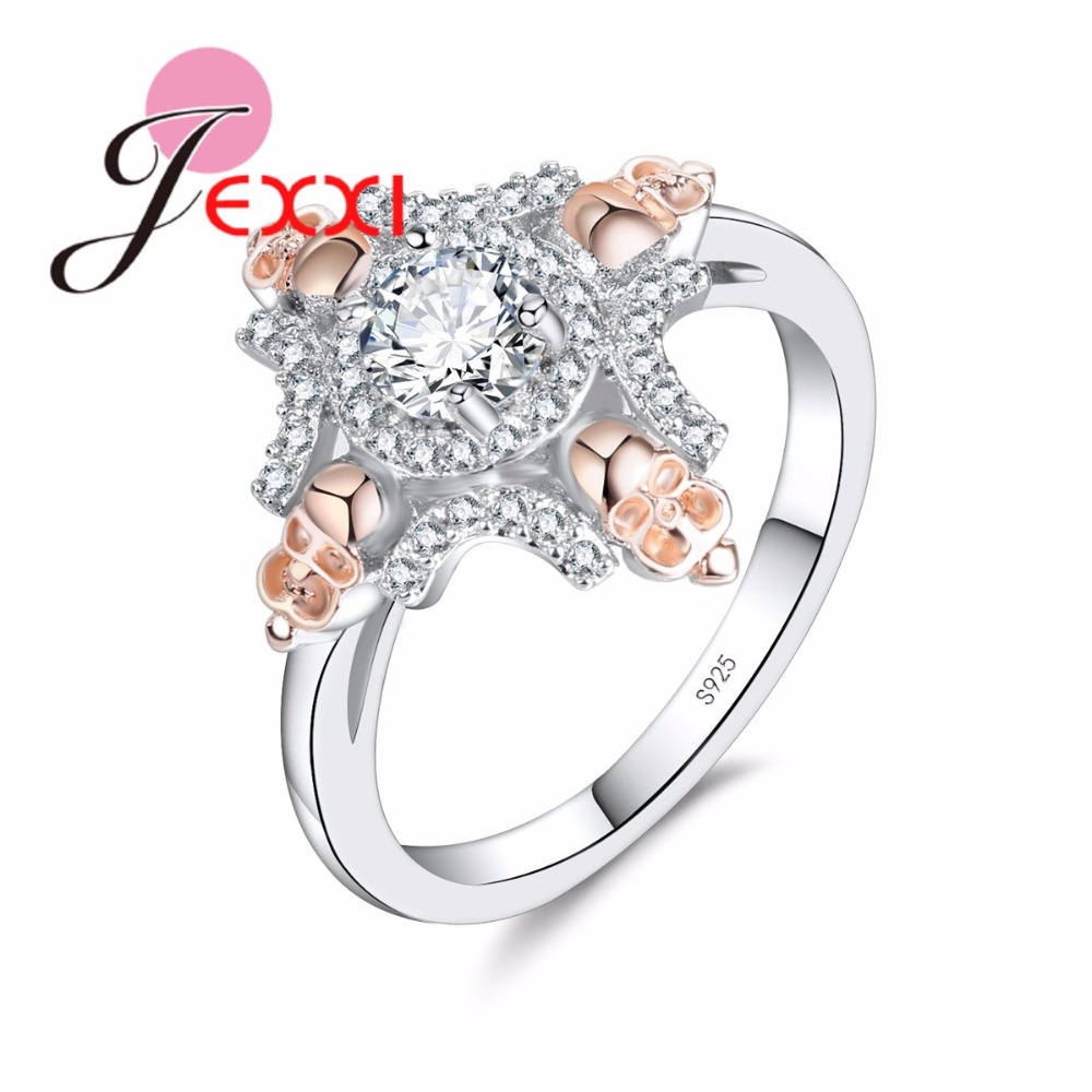 JEXXI New Stylish High-End Cross Ring Sparkly Clear Zircon Bijoux White and Gold Color 925 Sterling Silver Finger Ring for Women