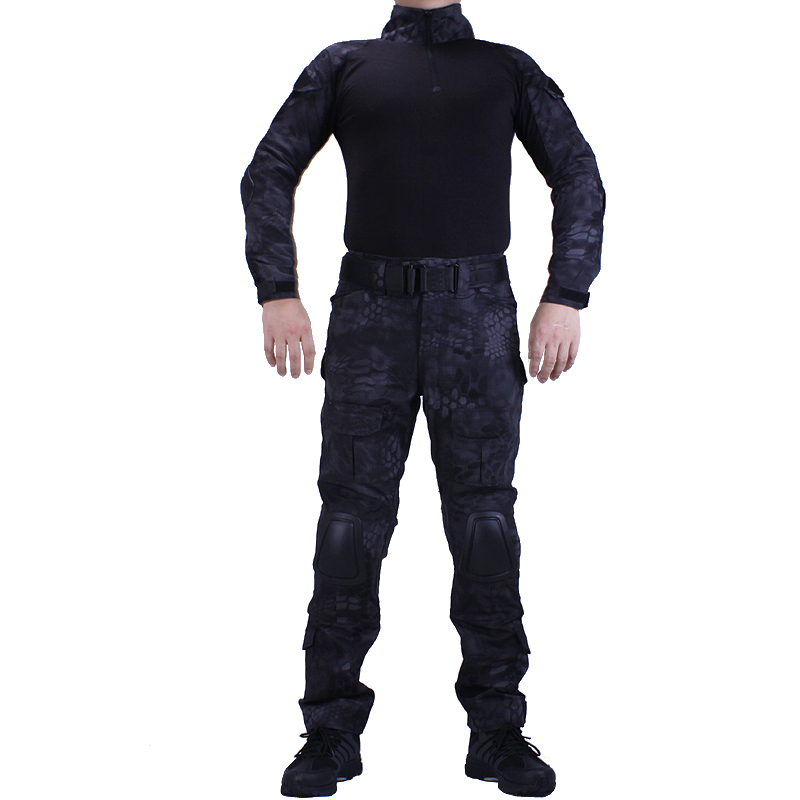 Camouflage BDU TYP Combat uniforms shirt with broek and elbow & knee pads militaire game cosplay uniform ghilliekostuum 7pcs xiaomi skating cycling helmet knee pads elbow wrist brace set