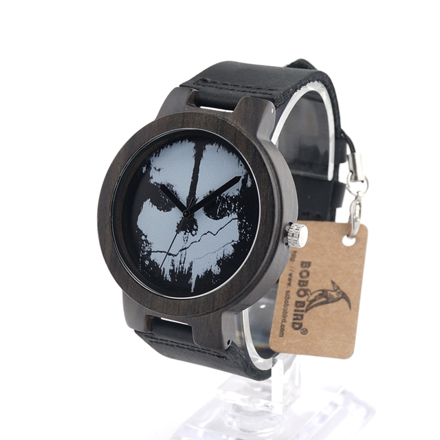 BOBO BIRD D24 Natural Ebony Wooden Watch Ladies with Skeleton Logo Luxury Quartz Watch with Genuine Leather Band for Men as Gift