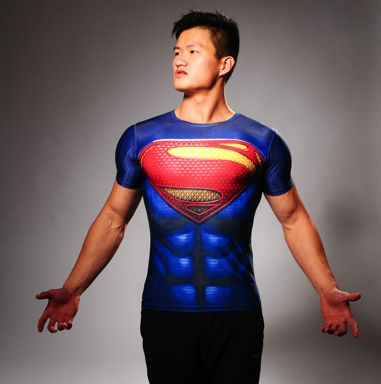 7c57dd57b8d649 Super hero men bodys marvel superman compression training short sleeve t  shirt thermal tees fitness compressed dry quick tights-in Men s Costumes  from ...