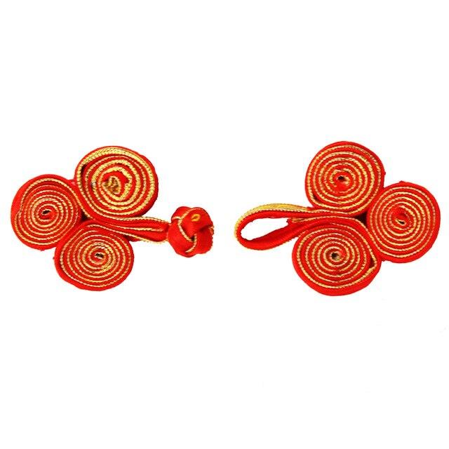 50 Unidades artesanal oro rojo Telas botón trenza coser en chino ...