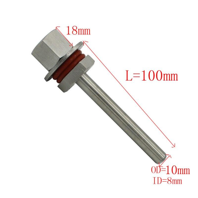 L50mm-L300mm comprimento de aço inoxidável 304 kit thermowell com 1/2 dndndn15 porca bloqueio homebrew termômetro parte