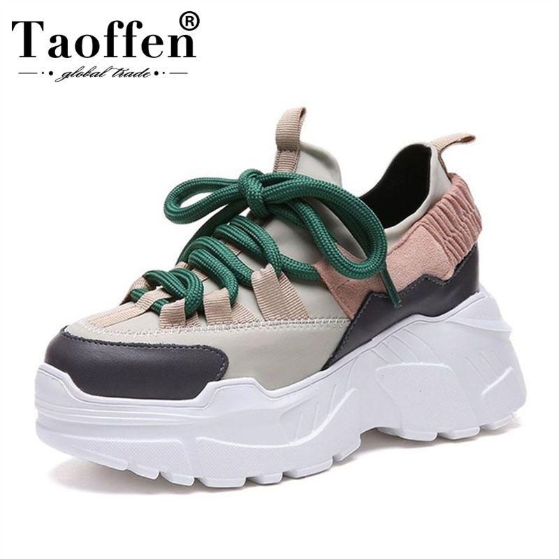 Taoffen Women Thick Bottom Fashion Youngs Vulcanized