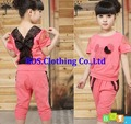 [Bosudhsou] Children's Clothing Summer New Girls Baby Lace Casual Two-piece Fashion Sets Kids T-shirt + Pants Suits