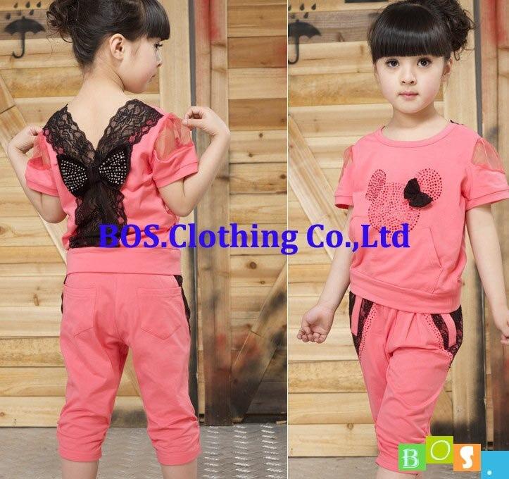 bosudhsou] детская одежда летний новый девушки ребенок кружева случайные двух частей мода устанавливает детей футболку + брюки костюмы