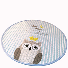 Owl diseño suave estera del juego de niños de poliéster para la sala/pasillo/sala de estar alfombra lavable a mano de dibujos animados ronda forma felpudo