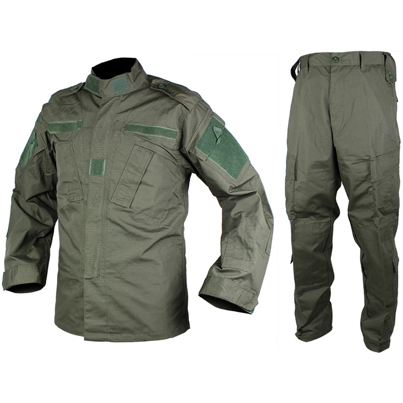 CQC Tactical Airsoft Military Army Uniform BDU Combat Shirt & Pants Set Outdoor Paintball Training Hunting Clothing(OD)