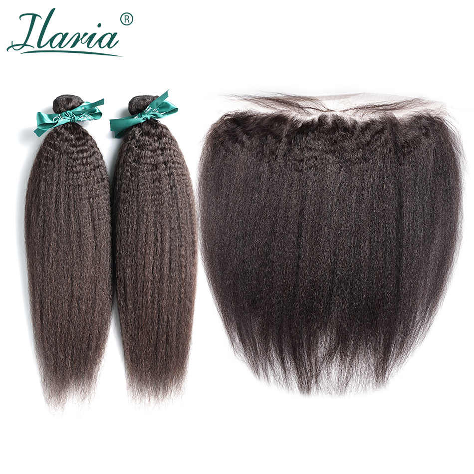 ILARIA HAIR Coarse Yaki  Peruvian Human Hair Bundles With Closure Kinky Straight 100% Remy Hair Weaves With Lace Frontal Closure