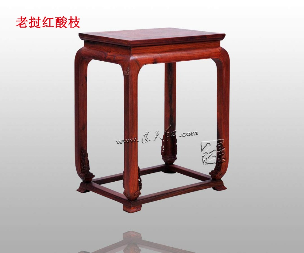 Tea Table with Scroll Grass Pattern Drum Leg Chinese Classical ...