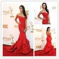 Famosa estrella vestidos rojos en alfombra roja de Emmys Strapless sirena noche de baile vestido de la celebridad por encargo