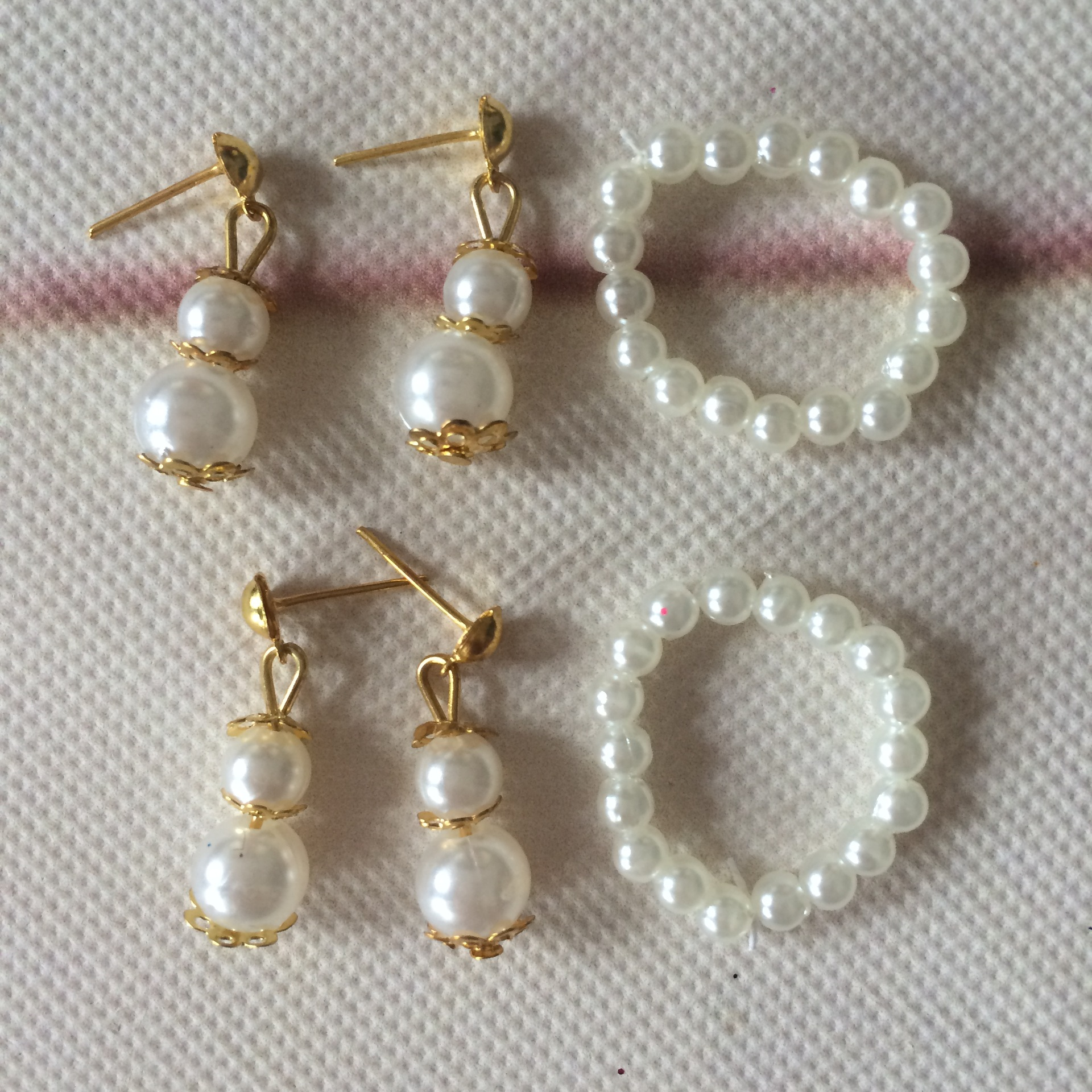 1 Set New Jewelry Pearl Necklace Earrings for Barbie Dolls Plastic