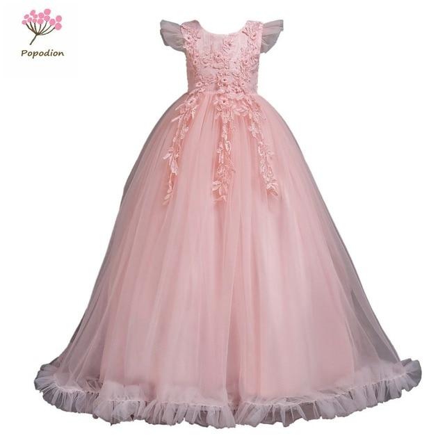 Popodion Apliques flower girl vestidos para casamentos meninas vestido da menina de flor vestido longo para as meninas FGD10114