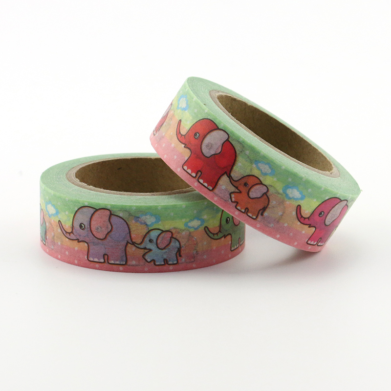1pcs New Diy Cute Cartoon Elephant Washi Tape Sticker Paper For Scrapbooking Decoration Stationery aniaml washi tape in Office Adhesive Tape from Office School Supplies