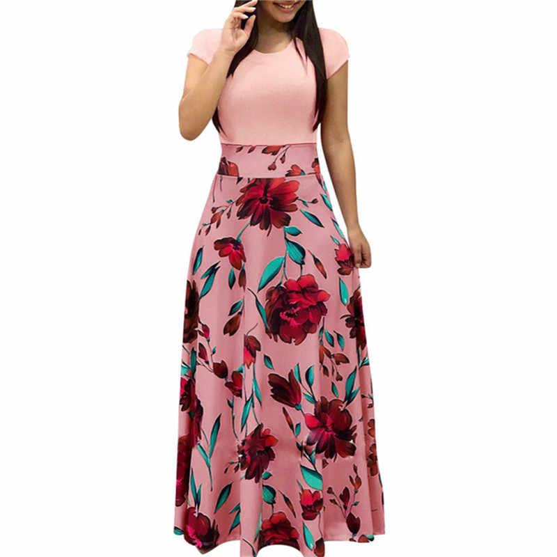 d51653a515 Summer Bohemian Dress 2019 Short Sleeve Floral Printed Long Maxi Dresses  For Women Beach Tunic Dress