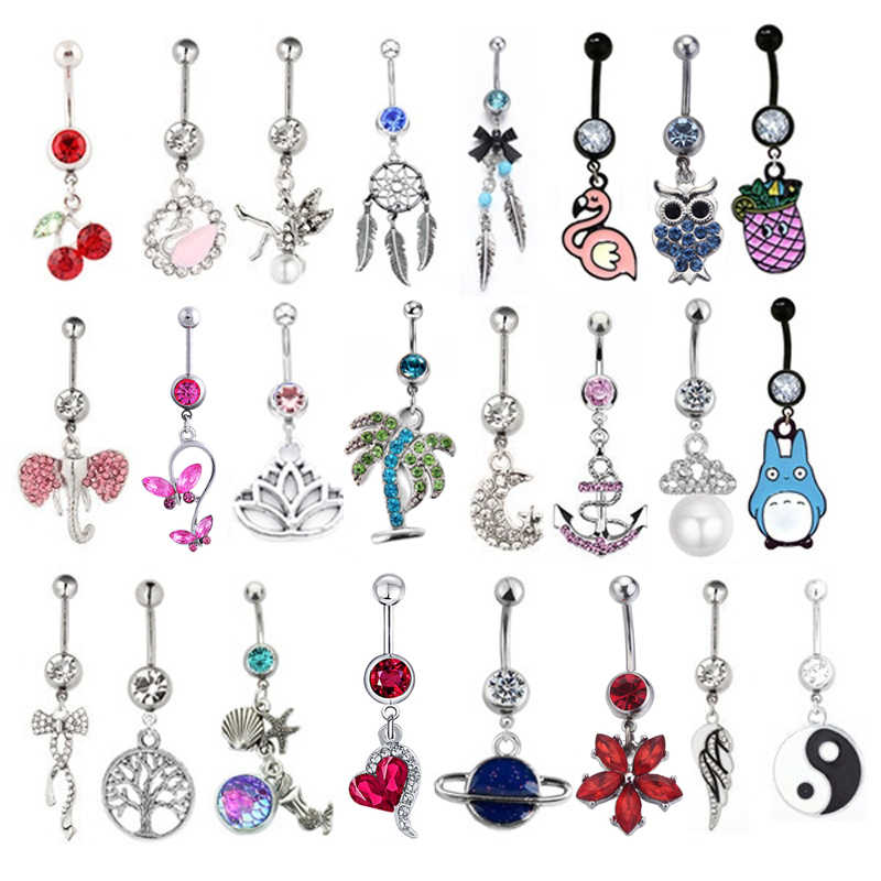 1PC New Stainless Steel Rhinestone Earrings in Navel Body Piercing Dangle Navel Belly Button Bar Barbell Rings Fashion Jewelry