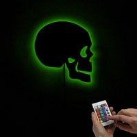 1Piece Halloween Skull Wall Light Arylic Makeup Mirror with LED Backlight Horror Indoors Wall Lamp Skeleton Silhouette
