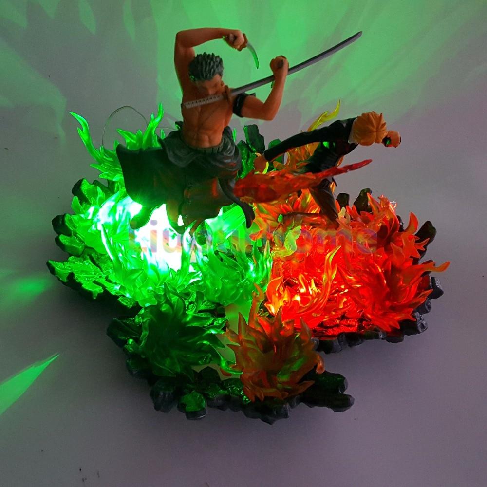 Una pieza Zoro Sanji luces Led escena de fuego Anime una pieza luces de noche modelo juego de mesa lámpara - 5