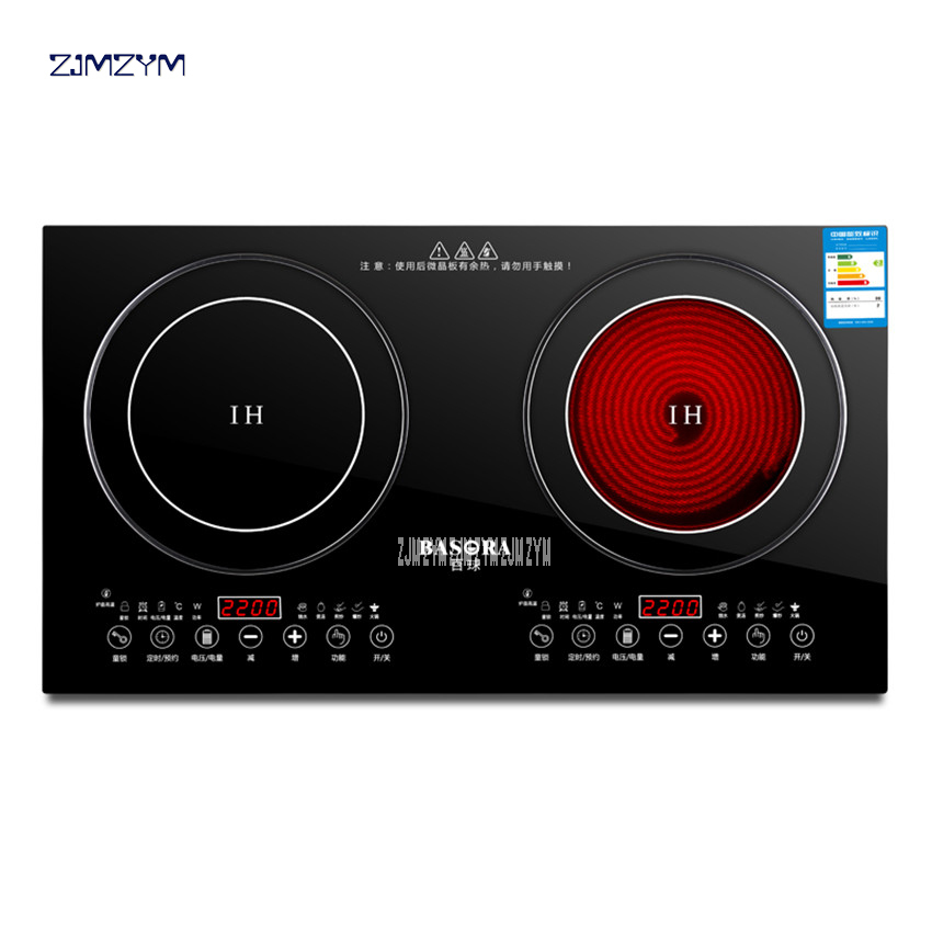 2200W Electric Induction Cooker /Cooktop/ Stove /Cookware/Hob/ Ceramic Stove With 2 Cookers Black Micro Crystal Panel YT-22 220V все цены