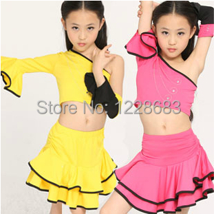9fbf3f4de5db Girls Kids Children Unequal Single One Sleeve Yellow Pink White Crop Top  And Skirt Set Belly Dance Dress