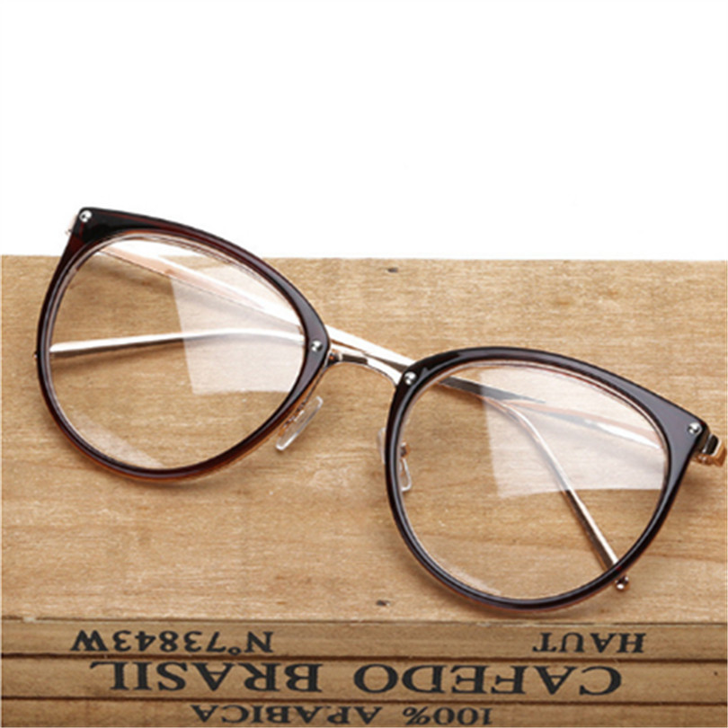 Retro Metal Frame Eyeglasses Oversized Clear Lens Glasses Men Women Transparent Optical Cat Eye Glasses Frames Spectacle image