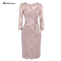 Three Quarter Beading Lace Mother of the Bride Dress Knee Length Short Mother Dress For Wedding