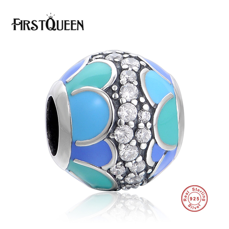 FirstQueen 925 Sterling Silver Flower Enamel Charm Beads With Clear CZ Fit Original Brand Bracelet Authentic