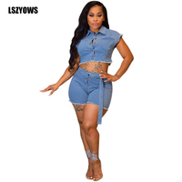 Sexy Two Piece Denim Sets 2019 Women Short Sleeve Button Up Crop Top And Shorts Suits Female Casual Skinny Jeans 2 Piece Outfits