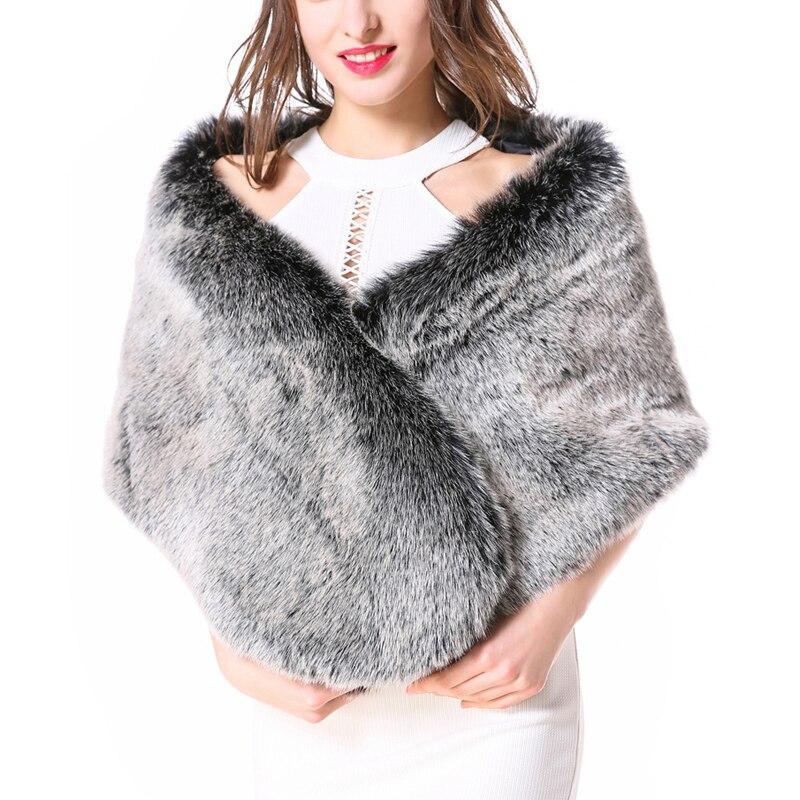ZADORIN Luxury Women Faux Fur Coat Vintage Faux Fur Shawl Ladies Winter fourrure Poncho Cape Women festival futro damskie