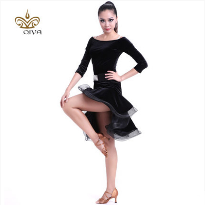 Latin Dance Dress Sexy Black Velvet Latin Girls Fringe Ballroom Skirt - Arts, Crafts and Sewing