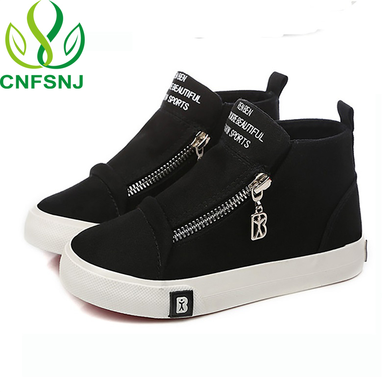 CNFSNJ Brand 2018 New Spring Autumn Boys Girls Kids Canvas Shoes Fashion Zip Children Sneakers High Quality 25-37