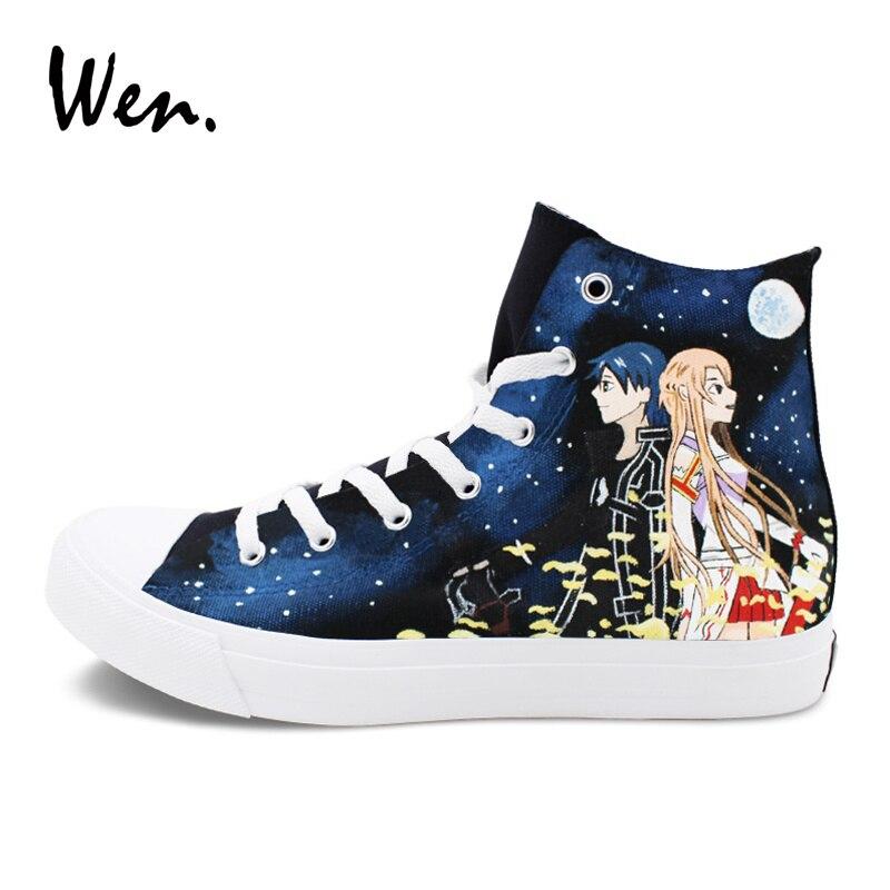 купить Wen Skateboarding Shoes Platform Sneakers Anime Design SAO Sword Art Online Hand Painted Shoes Men Women Plimsolls Flat Lace up по цене 5588.06 рублей