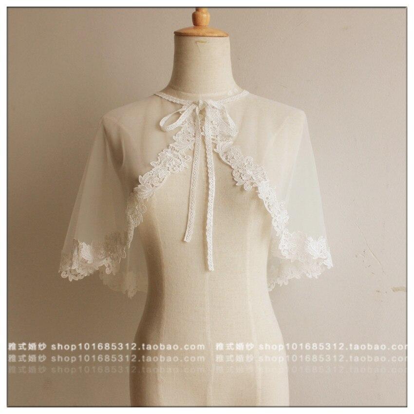 Women lace bolero white brides dress accessories real for White bolero for wedding dress