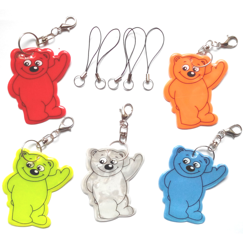 Bear reflective keychain reflective pendant for visibility safety use come with mobile phone strap free shipping