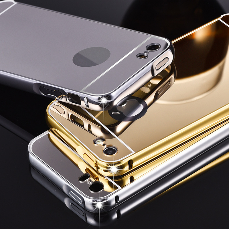 For iPhone 5 5s Case Metal Bumper Cases Golden Plating Aluminum Frame + Mirror Acrylic Back Cover black For iPhone5 iPhone5s