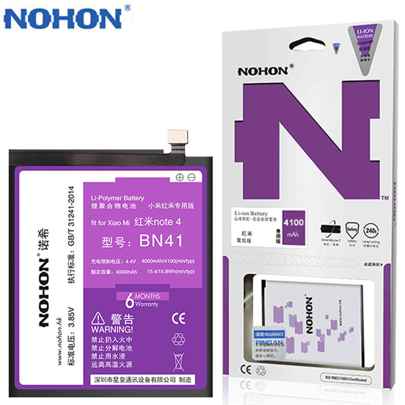 NOHON Original <font><b>Battery</b></font> For <font><b>Xiaomi</b></font> Redmi Note <font><b>4</b></font> Note4 BN41 Mobile Phone Batarya Replacement MTK X20 4100mAh For Xiao <font><b>Mi</b></font> Bateria image