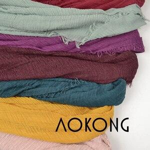 Image 3 - 10 teile/los frauen maxi crinkle hijabs schals oversize kopf wickelt weiche lange muslimischen ausgefranste crepe premium baumwolle plain hijab schal