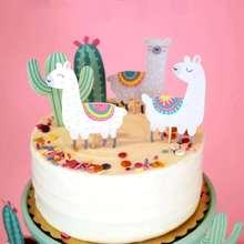 Omilut 5pcs Alpaca Cactus Cake Topper LLama Party Decorations Cartoon Cute Birthday Decoration Supplies