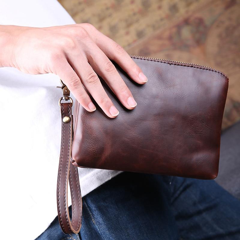 New Vintage PU Leather Men Envelope Bags Double Zipper Small Messenger Bags Fashion Men Business Mini Shoulder Bag Clutch Bag