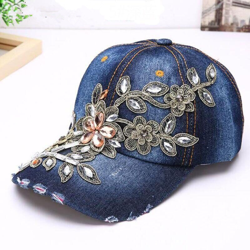 Delicate 2017 New Women Diamond Flower Baseball Cap Summer Style Lady Jeans Hats Hot Selling wholesale new arrival women turban hats flower dome hat head wrap chemo hats bandana hijab knotted indian cap