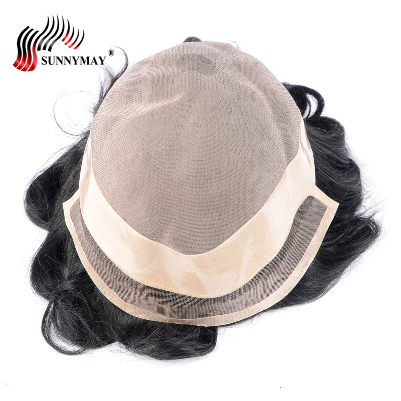 Sunnymay Toupee For Men 10x8 NPU Around Mono Lace 1b Color Mens Toupee ...