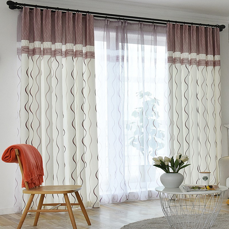 US $5.67 22% OFF|Contemporary Contracted Curtain S Stripe sitting room  curtain cloth New Voile Tulle Drape Grey Brown for Living Room 380&20-in ...