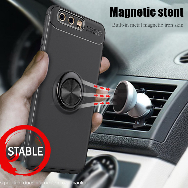 Luxury Car Bracket Ring Magnetic TPU Protective Case For Huawei P9 P10 Plus P9 Lite Cover For Huawei Honor 9 10 V9 V10 Lite