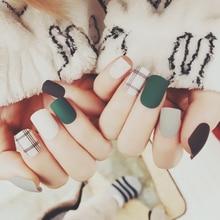 2019 Boxed nails Matte Brown dark green white French fake Acrylic nail kit Artificial 24PCS Manicure set