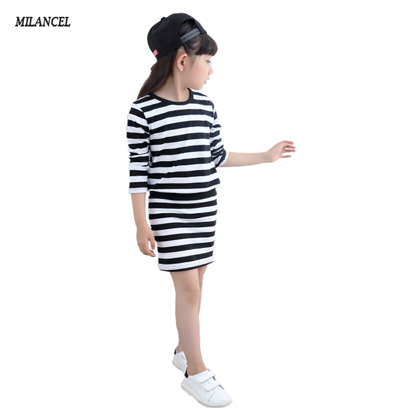 Girls Dress Spring 2018 Long Sleeve Stripe Girls Cotton Dresses Teenage Kids Dresses for Girls vestidos Infantis Girls Clothes toddlers girls dots deer pleated cotton dress long sleeve dresses