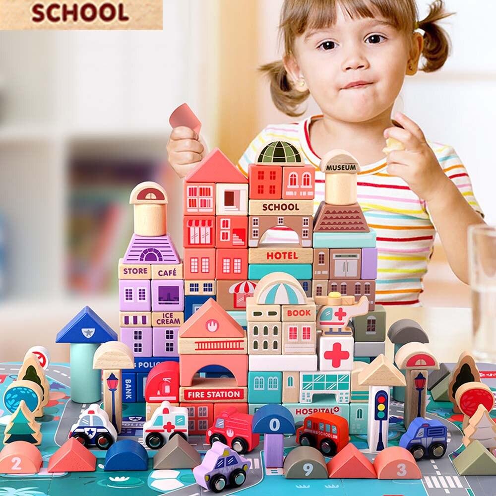 115 pièces enfants jouets en bois jouets ville trafic scènes géométrique forme assemblé blocs de construction début jouets éducatifs pour enfants