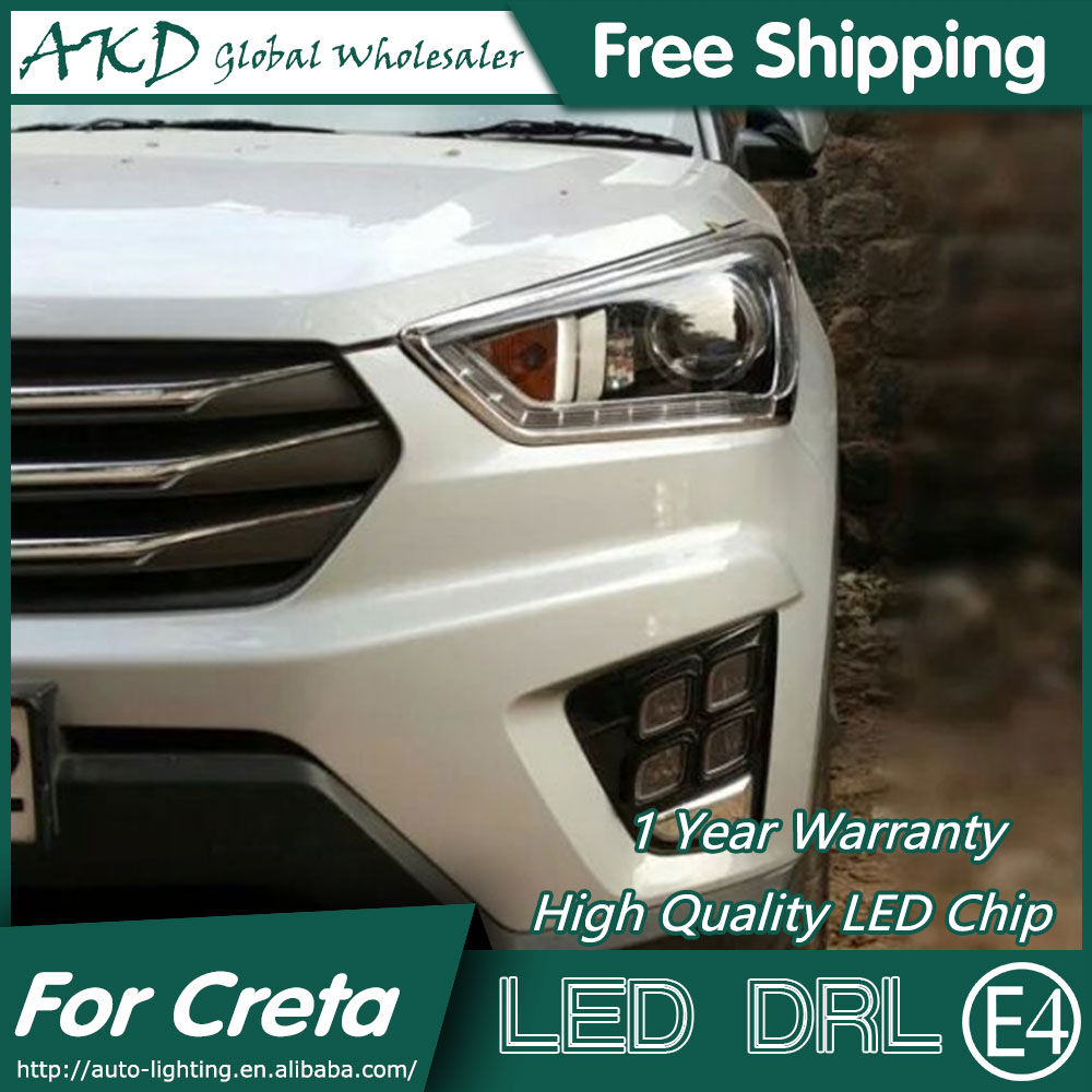 AKD Car Styling Fog Lamp for Hyundai Creta LED DRL 2015-2016 IX25 LED Daytime Running Light Fog Light Parking Accessories wljh 2x car led 7 5w 12v 24v cob chip 881 h27 led fog light daytime running lamp drl fog light bulb lamp for kia sorento hyundai