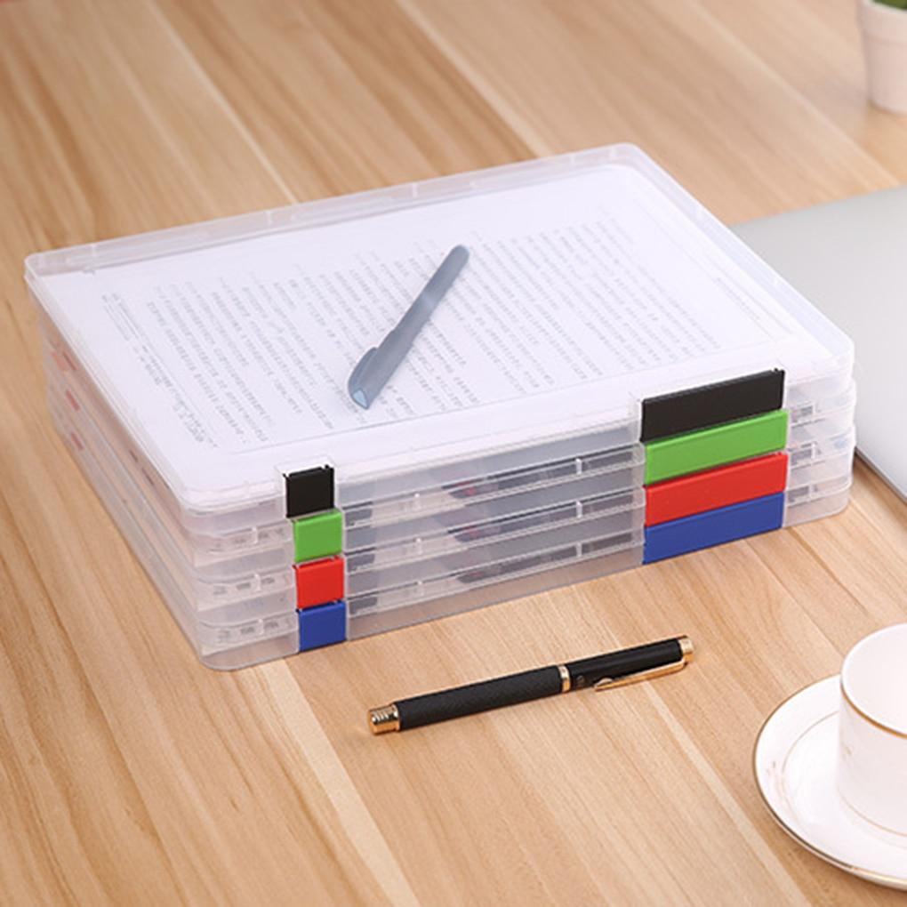 Caja de almacenamiento de archivos A4 Cajas de documentos de plástico transparente Organizadores de papel de escritorio