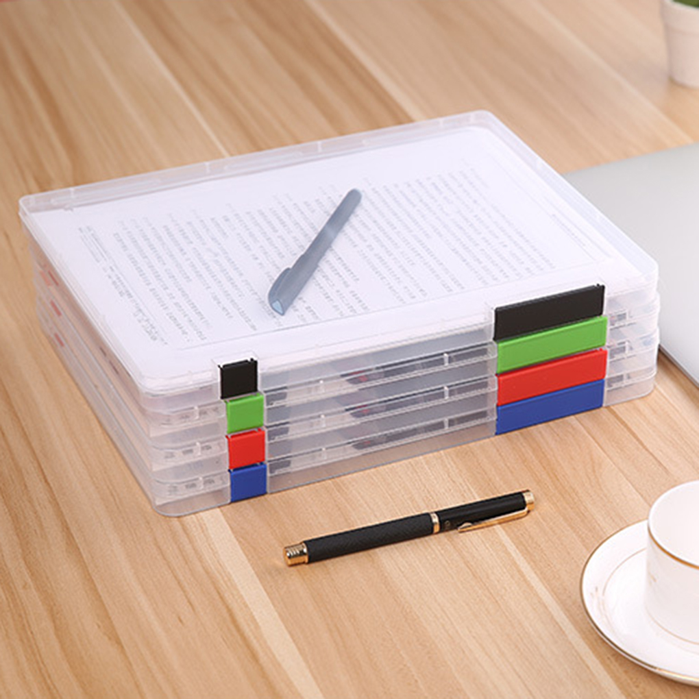 A4 ملف تخزين مربع من البلاستيك الشفاف الحالات مكتب ورقة المنظمون